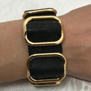 Black Strap Bracelet with Gold Tone Accents